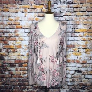 Lucky Brand NWT Pink Boho Peasant Blouse